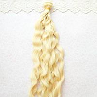 Волосы для кукол в трессах мелкие волны косичка, блонд - 25 см