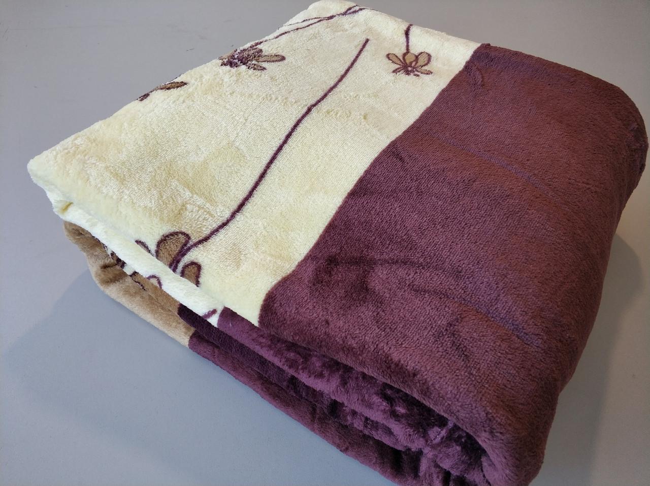 Микрофибровая простынь, плед, покрывало Elway полуторное Фиалка бежевая