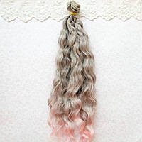 Волосы для кукол в трессах мелкие волны косичка, омбре серые с розовым - 25 см