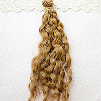 Волосы для кукол в трессах мелкие волны косичка, русые - 25 см