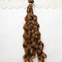 Волосы для кукол в трессах мелкие волны косичка, светлый каштан - 25 см