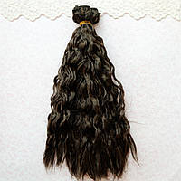 Волосы для кукол в трессах мелкие кудри люрекс, шоколад - 25 см