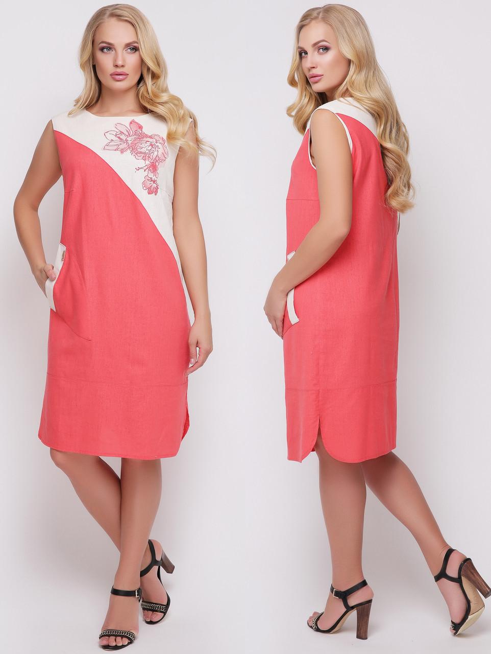 5292c58f4cae225 Льняное платье больших размеров прямое батальное женское летнее лен , цена  390 грн., купить в Вышгороде — Prom.ua (ID#715464795)