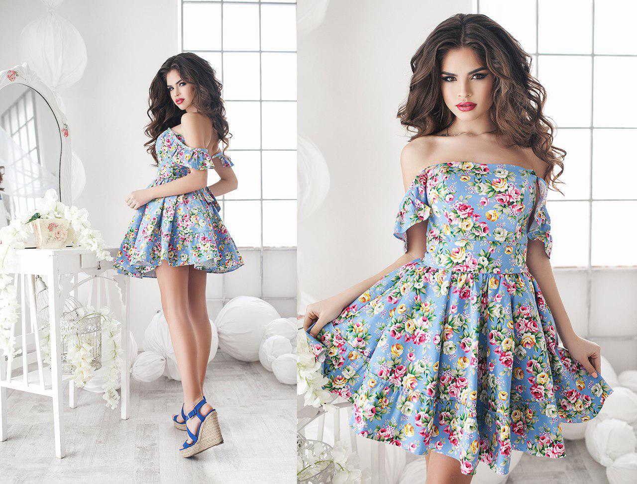 Платье летнее, мини, с пышной юбкой, два цвета, размеры 42,44,46 код 1048Т