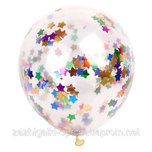 "Шар 12"" с конфетти звездами (уп. 5шт)"