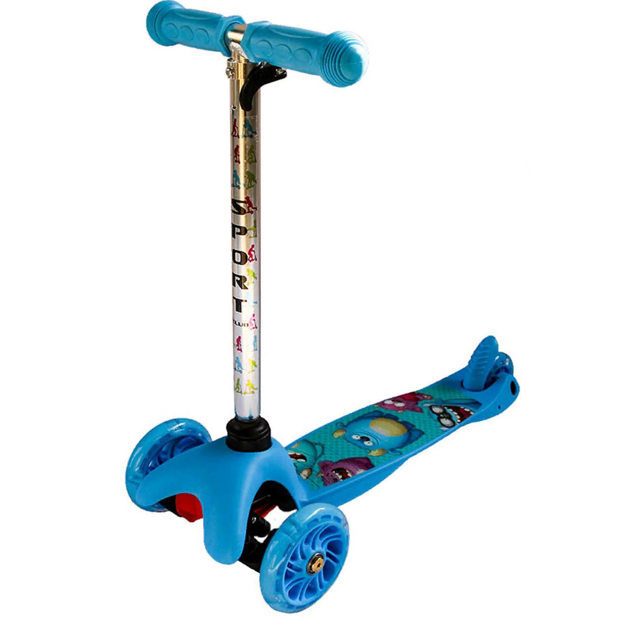 Трехколесный самокат с светящимися полиуретановыми колесами  мини синий