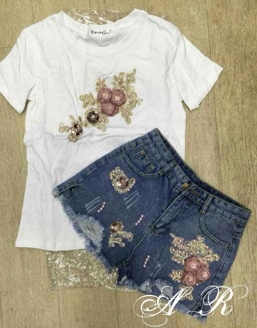 Костюм с цветами шорты джинс и футболка коттон