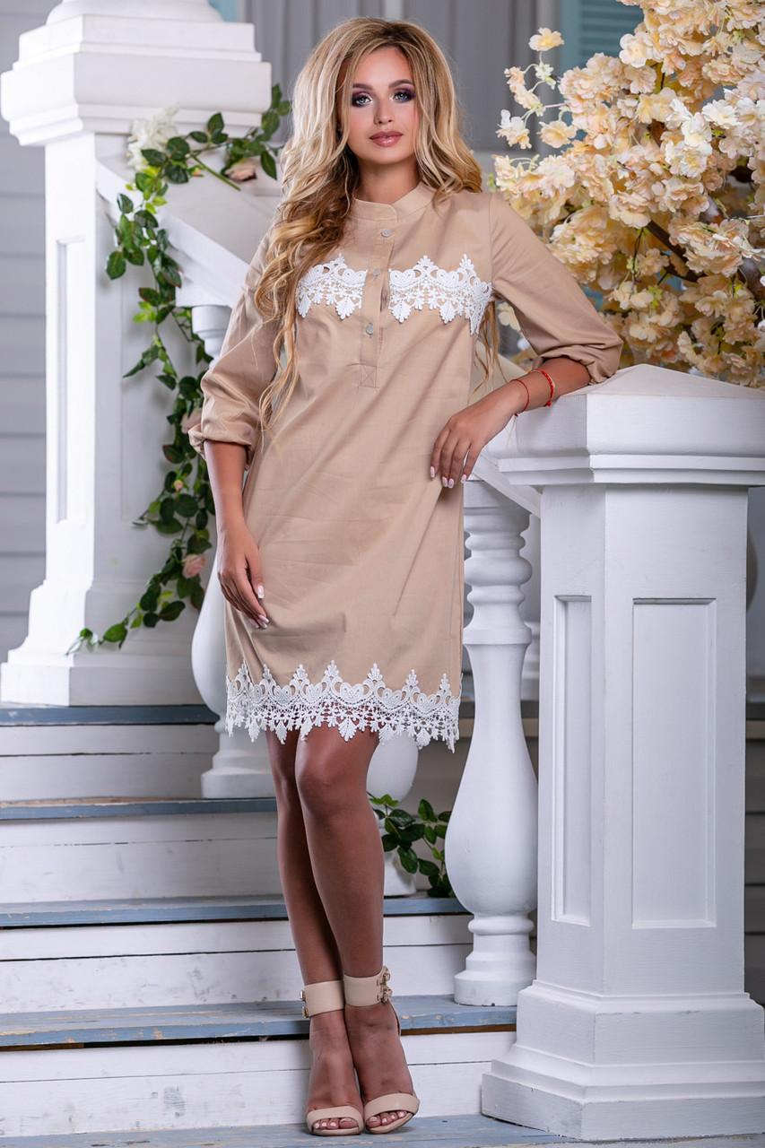 373bf4596ff2 Женское платье-рубашка, прямое, светлый кофе,с кружевом, стрейч-коттон,  размеры 42, 44, 46, 48