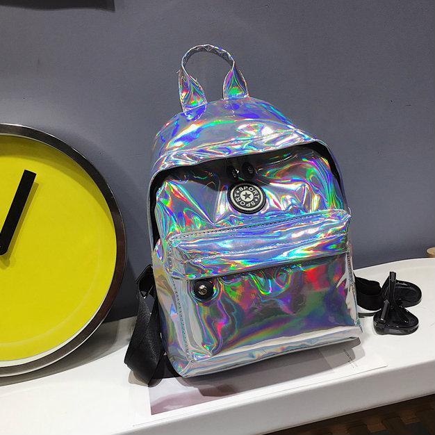 Голографический рюкзак серебро