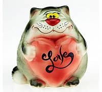 Копилка кот с сердечком LOVE ,2 цвета