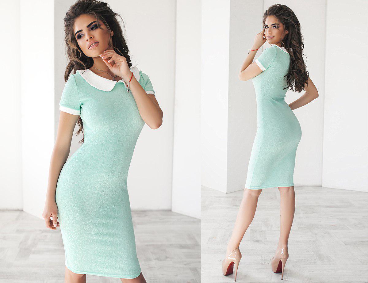 Платье летнее, приталенное, с воротничком, три цвета, размеры 42,44,46, код 2035Т