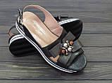Черные кожаные босоножки на платформе, фото 3