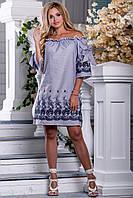 Женское платье, с открытыми плечами, свободное, бело-синяя полоска, хлопок с вышивкой, размеры 42, 44, 46, 48