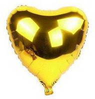 """Сердце фольгированное металлик 18""""/45см.-надув воздухом- Золотистый / Золото, Золотистый / Золото"""