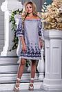 Женское платье, с открытыми плечами, свободное, бело-синяя полоска, хлопок с вышивкой, размеры 42, 44, 46, 48, фото 3