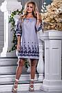 Женское платье, с открытыми плечами, свободное, бело-синяя полоска, хлопок с вышивкой, размеры 42, 44, 46, 48, фото 5