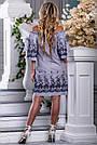 Женское платье, с открытыми плечами, свободное, бело-синяя полоска, хлопок с вышивкой, размеры 42, 44, 46, 48, фото 6