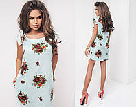 Платье летнее, из легкой ткани, свободный, ровный крой, четыре цвета, размеры 42,44,46, код 2031Т, фото 1