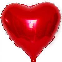 """Сердце фольгированное металлик 18""""/45см.-надув воздухом- Красный"""