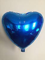 """Сердце фольгированное металлик 18""""/45см.-надув воздухом- Синий"""