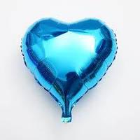 """Сердце фольгированное металлик 18""""/45см.-надув воздухом- Голубой"""