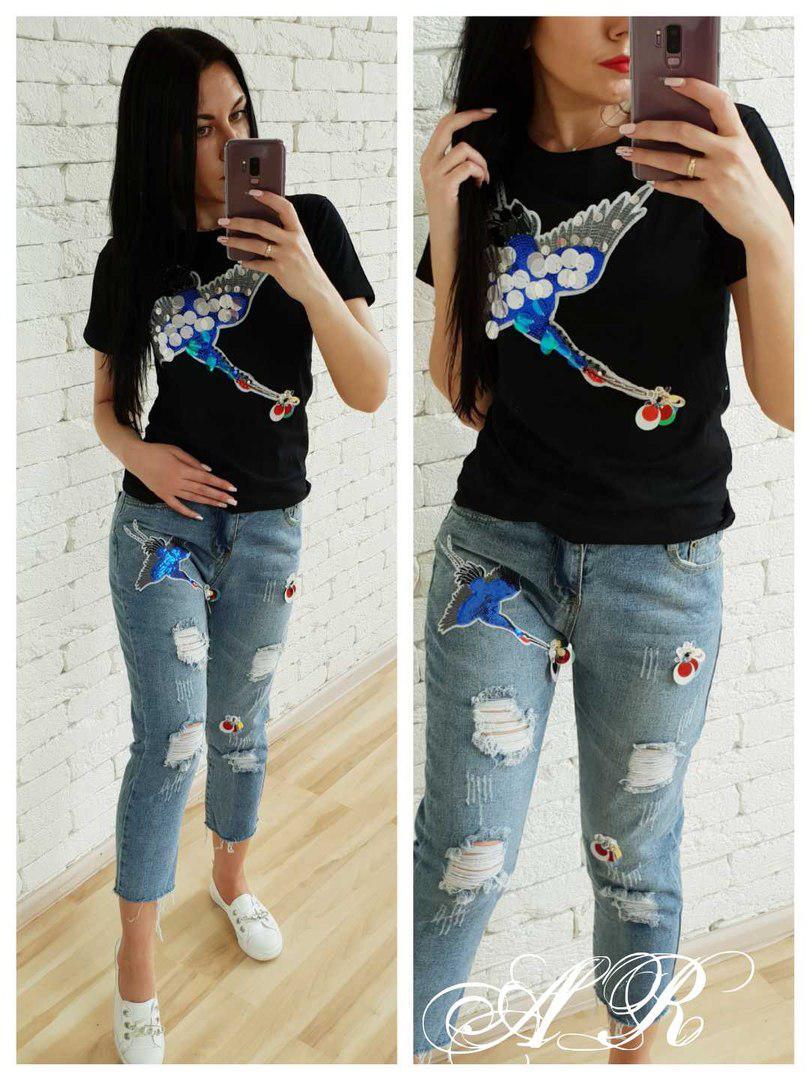 Костюм джинсы и футболка с накаткой журавель