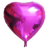 """Сердце фольгированное металлик 18""""/45см.-надув воздухом- Малиновый"""