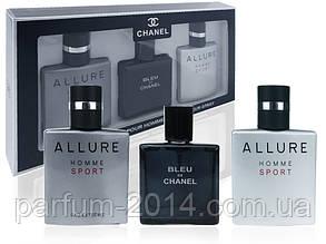 Подарочный набор парфюмерии для мужчин Chanel 3 х 25 ml (реплика)
