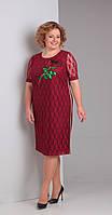 Платье Диамант-1316 белорусский трикотаж, бордовые тона, 52