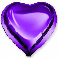 """Сердце фольгированное металлик 18""""/45см.-надув воздухом- Фиолетовый"""