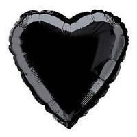 """Сердце фольгированное металлик 18""""/45см.-надув воздухом- Черный (матовое), Черный (матовое)"""