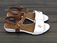 Белые кожаные босоножки на низком ходу, фото 1