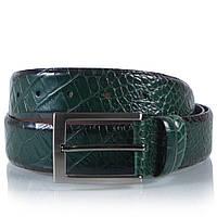 Мужской Ремень мужской кожаный зеленый Glasman 7510 Зеленый, 115