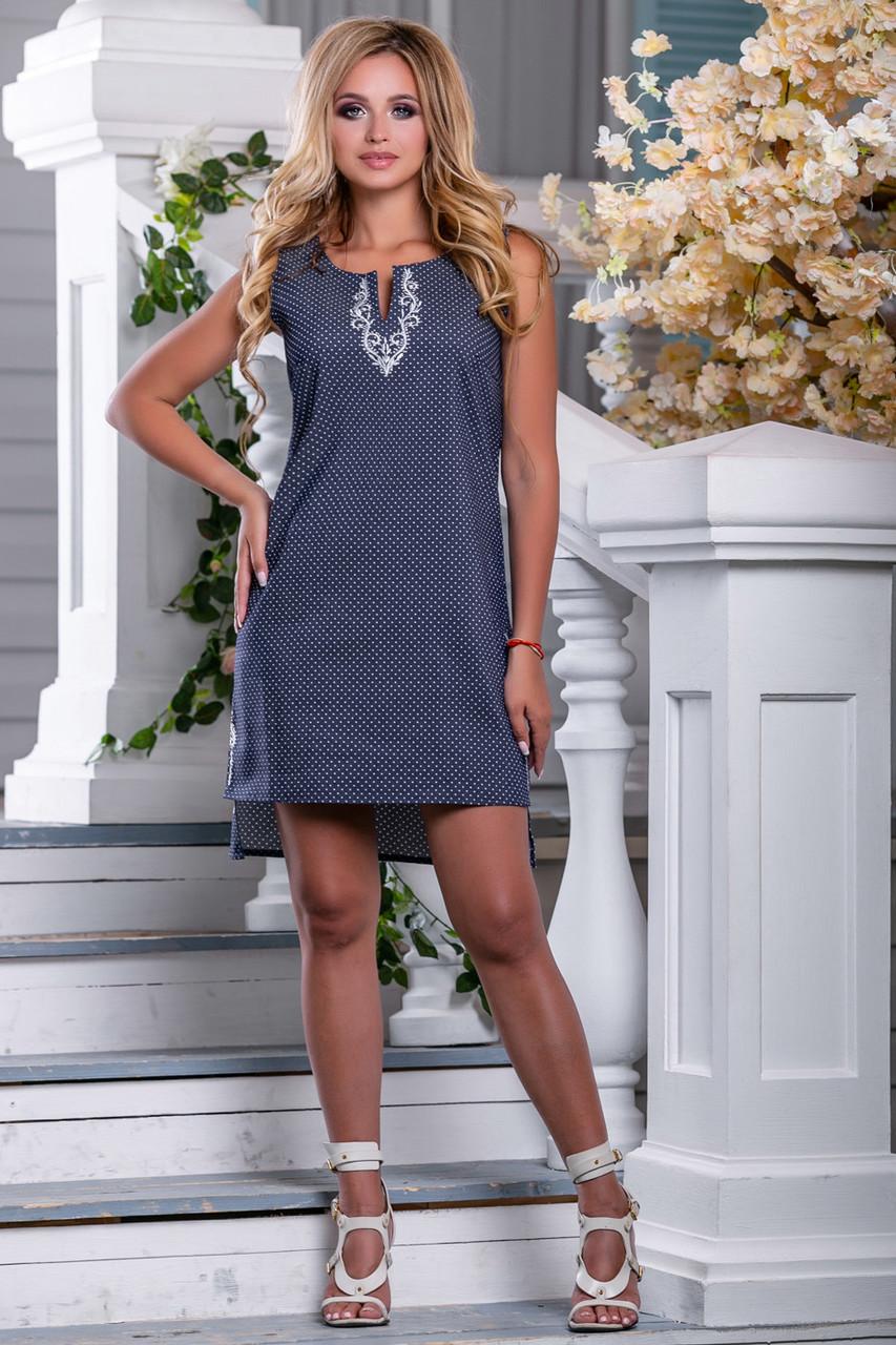 Женское платье, короткое, полуприталенное, синее в горошек, с вышивкой, коттон, размеры 42, 44, 46, 48, 50