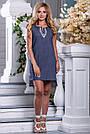 Женское платье, короткое, полуприталенное, синее в горошек, с вышивкой, коттон, размеры 42, 44, 46, 48, 50, фото 2