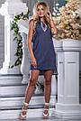 Женское платье, короткое, полуприталенное, синее в горошек, с вышивкой, коттон, размеры 42, 44, 46, 48, 50, фото 3