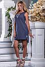 Женское платье, короткое, полуприталенное, синее в горошек, с вышивкой, коттон, размеры 42, 44, 46, 48, 50, фото 4