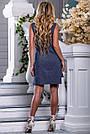 Женское платье, короткое, полуприталенное, синее в горошек, с вышивкой, коттон, размеры 42, 44, 46, 48, 50, фото 5