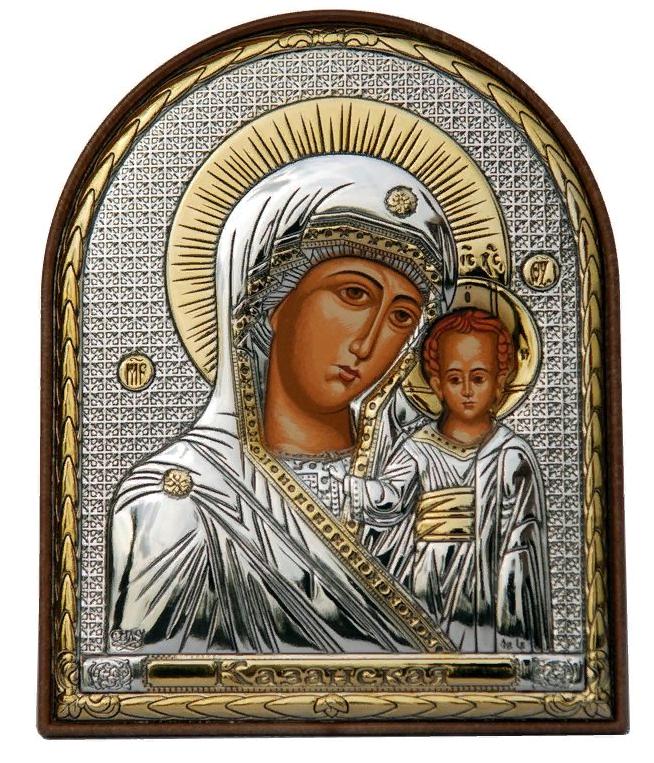 Икона серебряная греческая Казанская