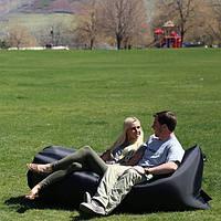 Надувное кресло Лежак черный (ламзак, ламздак, надувной диван, надувной шезлонг)