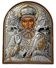 Икона серебряная греческая Николай Чудотворец
