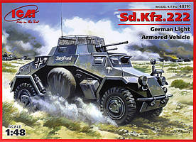 SD.KFZ.222 WWII GERMAN ARMORED CAR. 1/48 ICM 48191