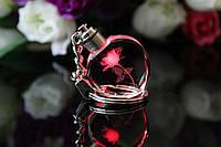 """Красивый необычный брелок женский """"Светящаяся роза""""! Мерцает разными цветами!"""
