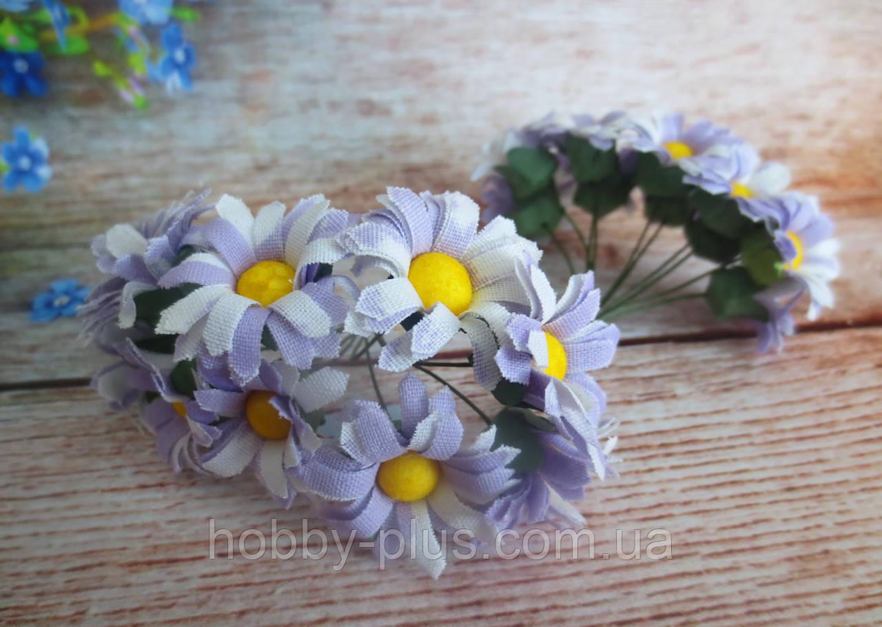 Декоративные цветы ромашки d 2.5 см, 10 шт/уп, сиреневого цвета