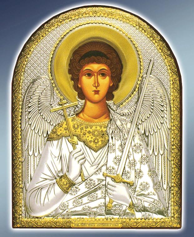 Икона серебряная греческая Ангел Хранитель