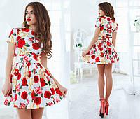 Платье летнее, коттоновое, мини, с пышной юбкой, десять цветов, размеры 42,44,46 код 1049Т, фото 1