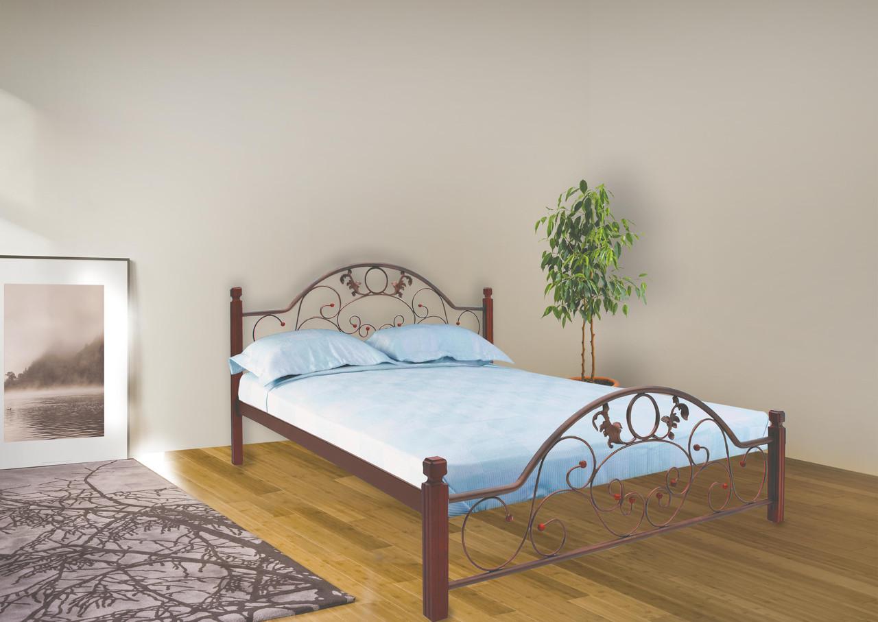 Кровать Франческа 160*190 деревянные ножки (Металл дизайн)