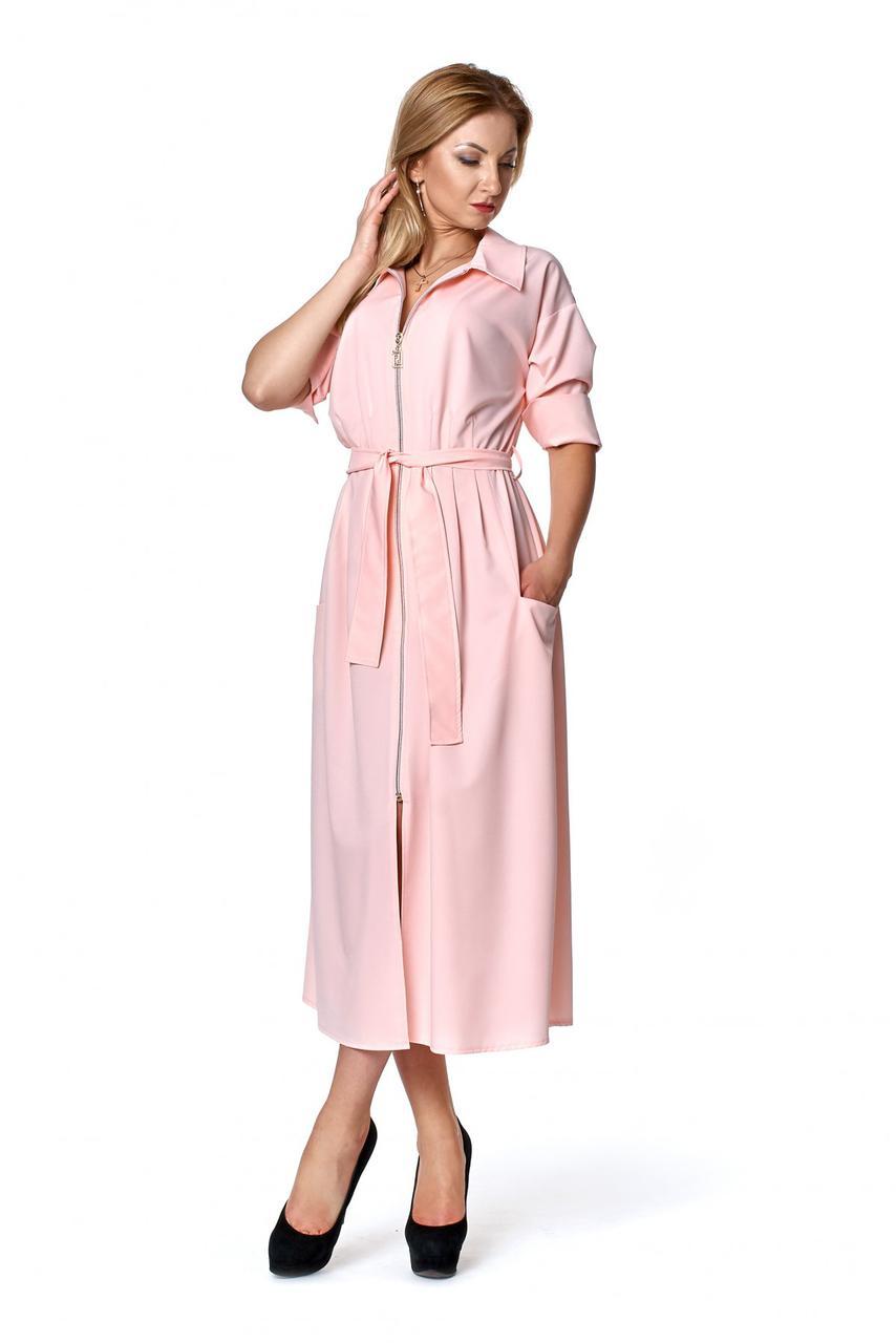 Классическое платье рубашка розового цвета 1082