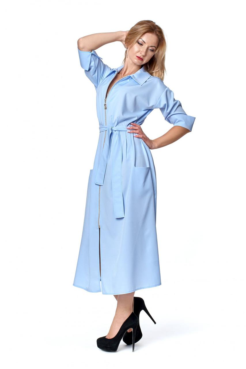 Класичне плаття сорочка блакитного кольору 1082