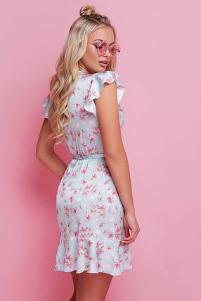80beb218b79 Летнее платье мини шелковое на запах с рюшами с цветами мятное горох ...
